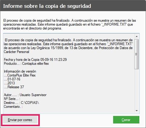 14-Pantalla informe sobre la copias de seguridad en ContaPlus Flex