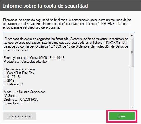 16-Pantalla informe sobre la copias de seguridad en ContaPlus Flex