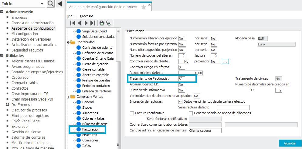 configuración packinglist