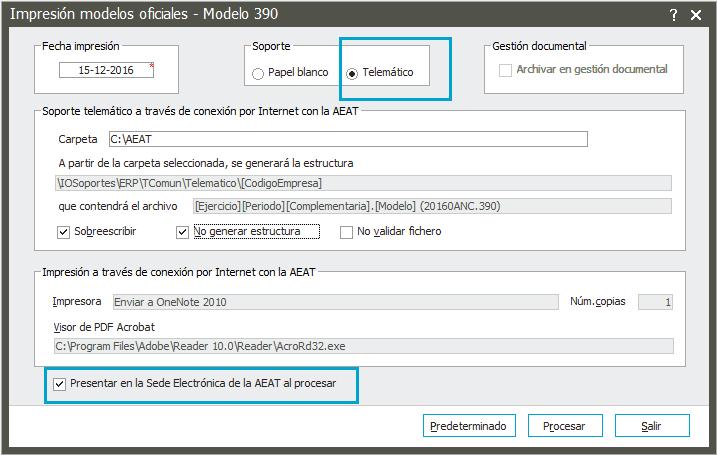 Generación y presentación del modelo 390