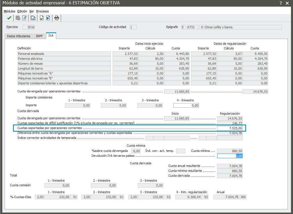 Pestaña IVA con acumulación cuotas IVA Soportado