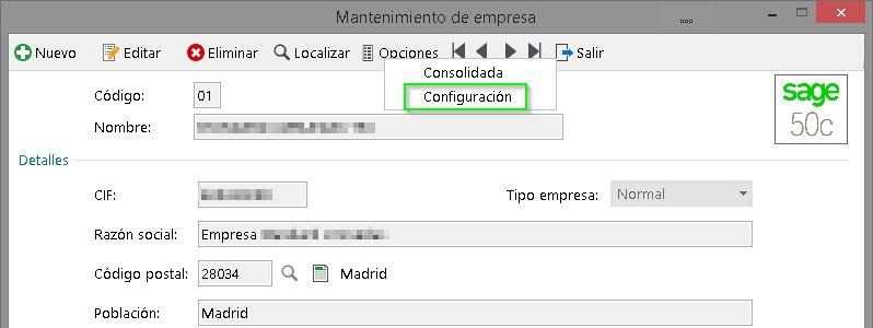 Opciones - Configuración de empresa