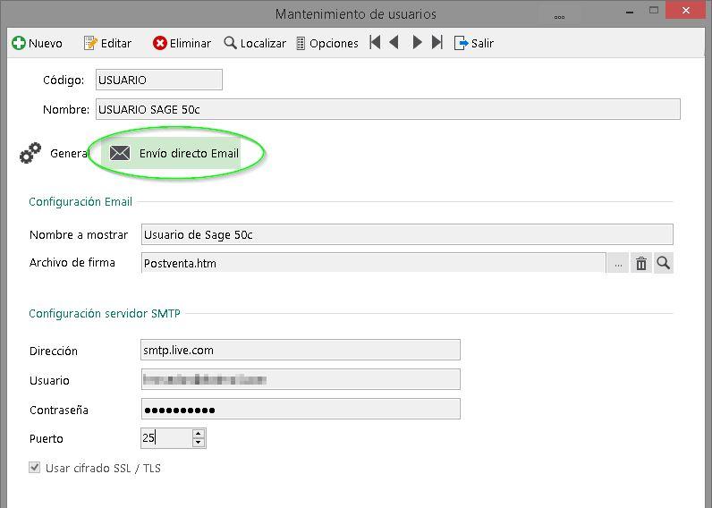 Parámetros de envío SMTP