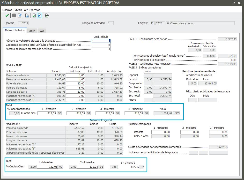 Total pago fraccionado y cuotas de IVA