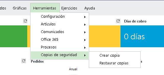 menu herramientas copias de seguridad