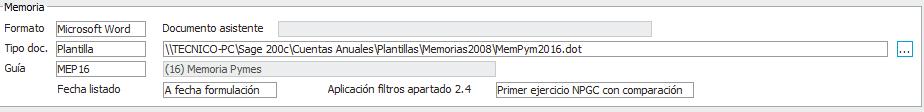 Configuración Memoria