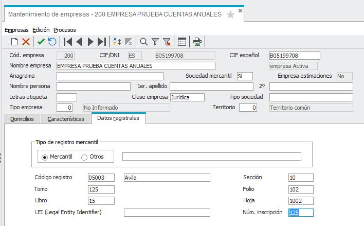 Datos Registrales Empresa