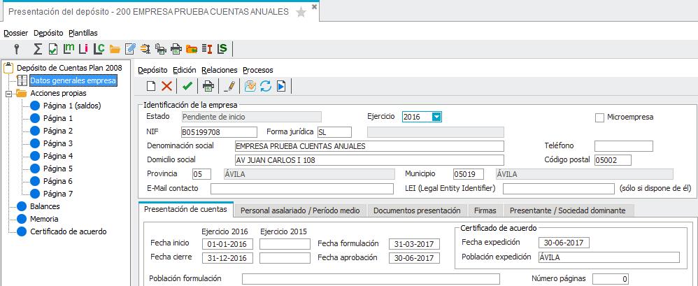 Acceso a Datos Generales Empresa