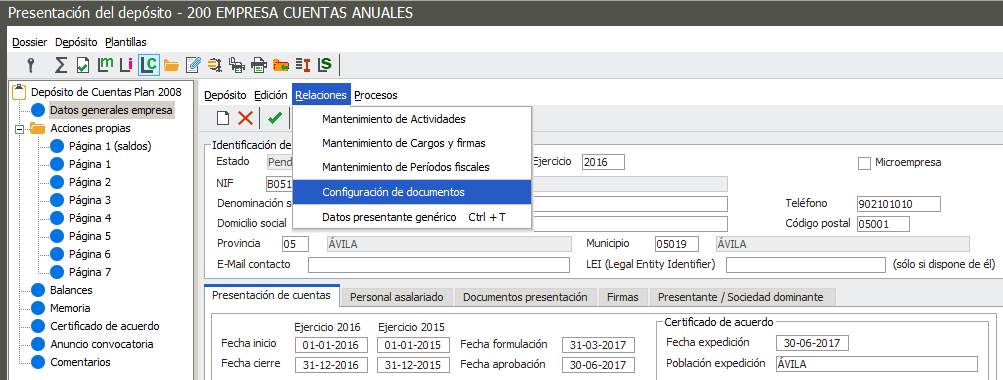 Acceso a configuración de documentos