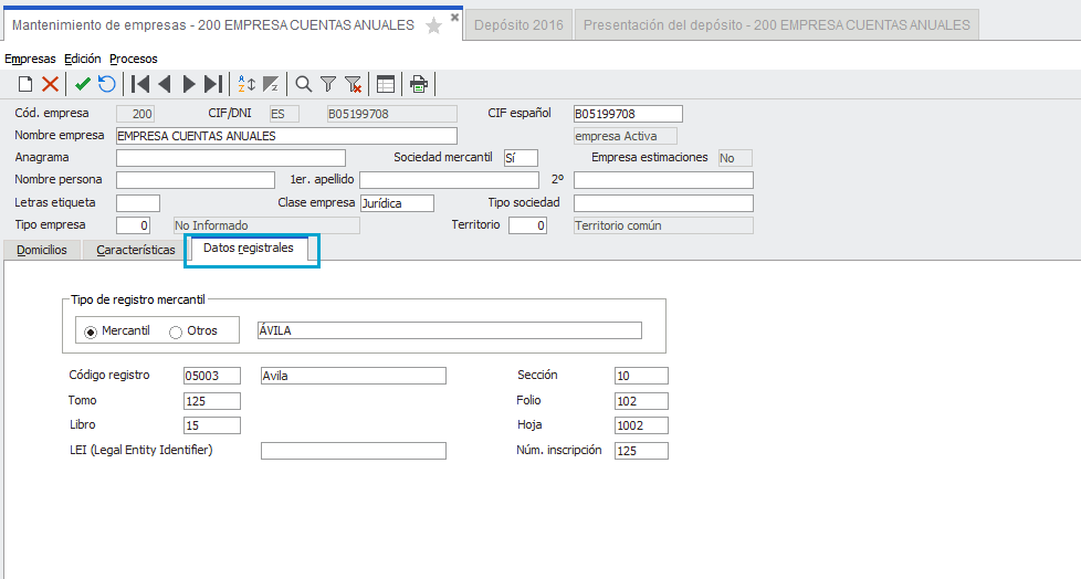 Datos Registrales de Empresa