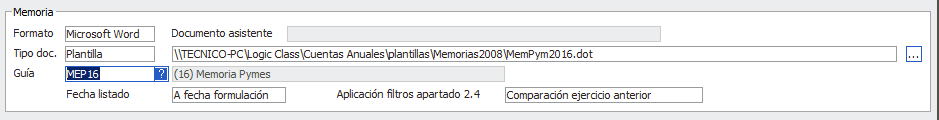 Configuración cálculo de Memoria