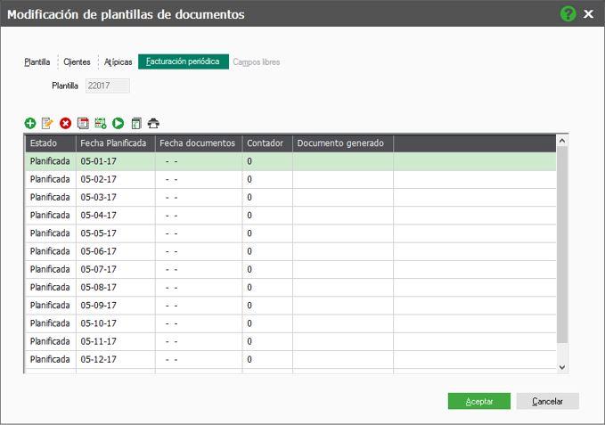 Registros de planificación