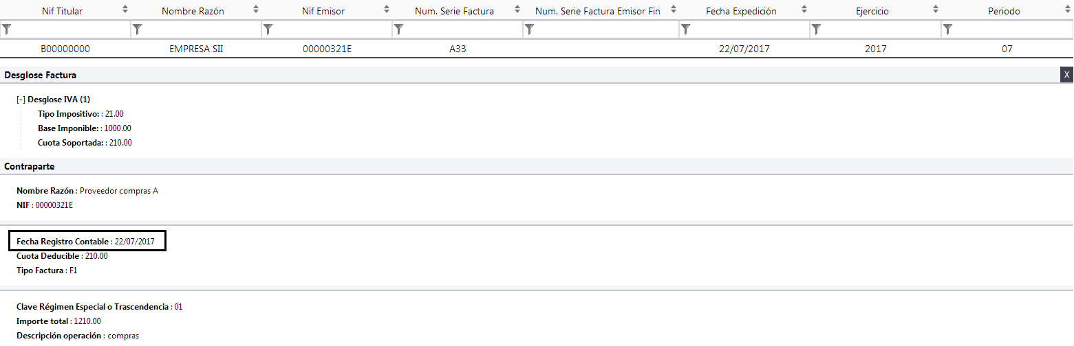 Fecha Registro XML SII