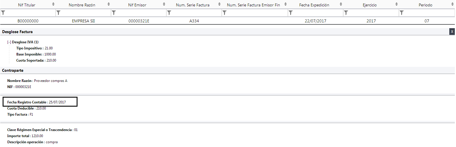 Fecha Registro Contable XML SII