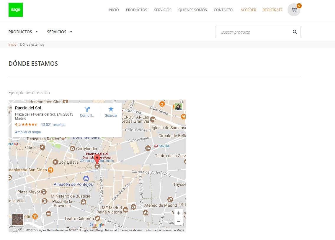 Ejemplo de mapa en Sage TPV Online