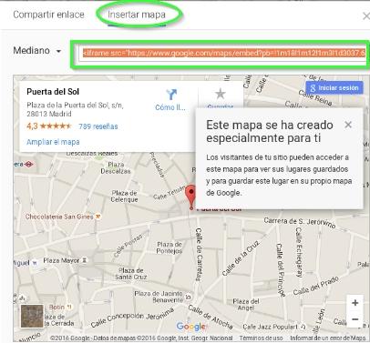 Insertar mapa y copiar url