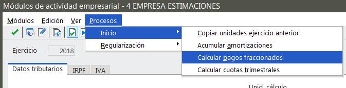 Cálculo de Pagos fraccionados
