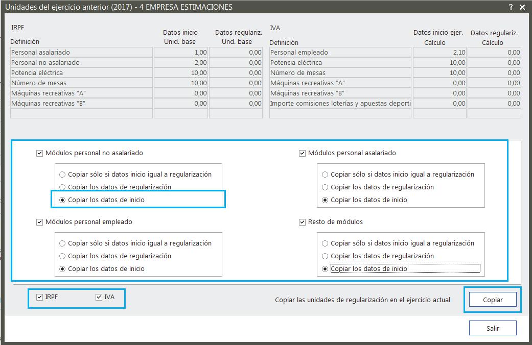 Copiar Datos de Inicio