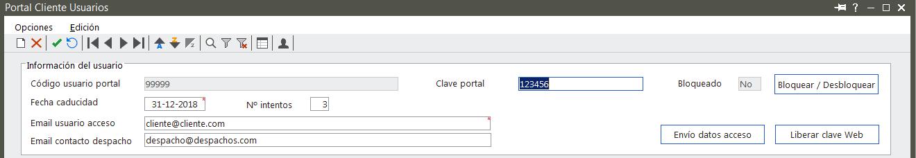 Configuración datos de acceso