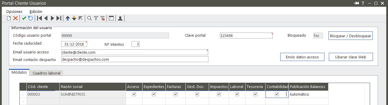 Portal Cliente permisos