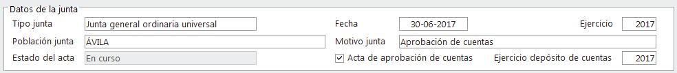 Datos de Junta