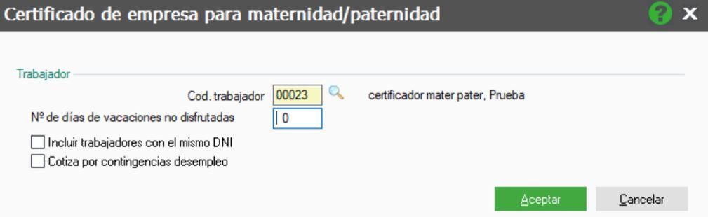80140fa33 En la pantalla que aparece seleccionaremos el Cod. trabajador de maternidad  o paternidad. Si ...