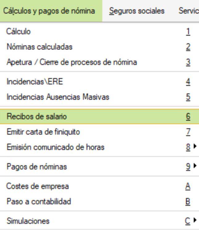 cómo imprimir recibos de salario nóminas en nominaplus flex sage